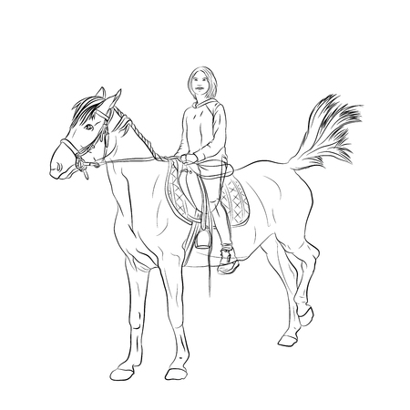 girl child. child riding a horse. vector illustration on white background isolated