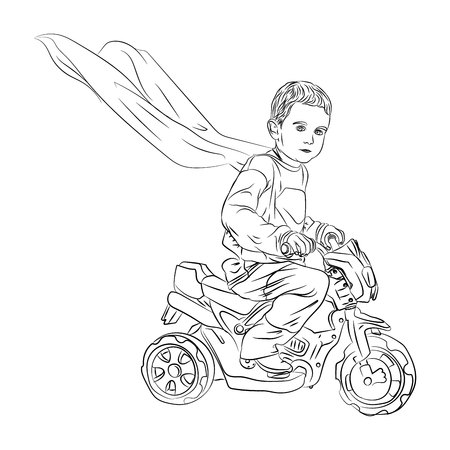 supper hero is a small child. a child on a motorcycle rides with a flying cloak. vector illustration on white background isolated Illustration
