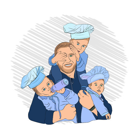 cooks children. dad and his three children. friendly family in the process of cooking. a happy family Illustration