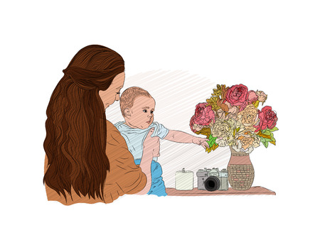 baby mom family concept. child among the flowers. vector illustration. sketching style Illustration