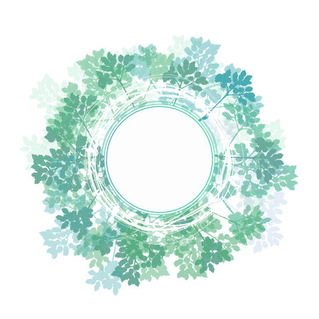 branch of a tree, in the style of sketching. green leaves on a white background in a circle Ilustração