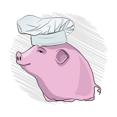 pig cook. Pink pig in a cooking cap on a white background. vector illustration Иллюстрация