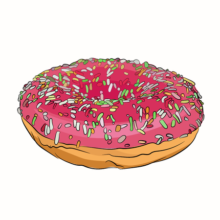 pink donut diet sweet. Vector illustration on white background. sketching style