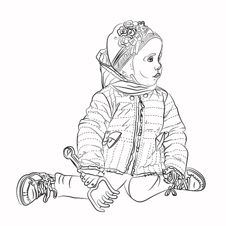 A child plays in a sandbox with a spatula and a pitchfork. The little girl looks interested in the side. Vector illustration for your design on white background in sketching style black white