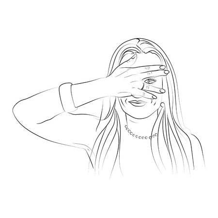 sweep the meme. My eyes would not see you meme. Vector illustration for your design on white background. sketching style