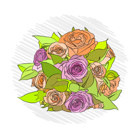 Flowers bouquet round. positive photo. vector illustration. sketching style