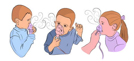 children are treated with an inhaler. treatment of children. children are sick. cold season. vector illustration on isolated background. drawing style Ilustrace