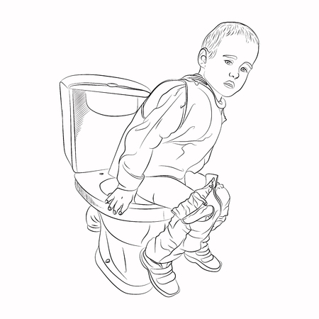 problems with baby food. baby on the toilet. Vector illustration on white background. sketching style. isolated Ilustração
