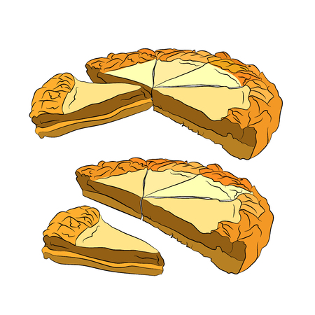 cottage cheese pie. Vector illustration on white isolated background. sketching style