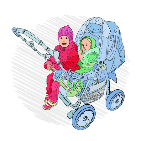 baby carriage and children on it. fun childhood common things. Vector illustration on white isolated background. style sketching