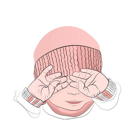 los niños lloran. una niña con un sombrero rosa. se cubre la cara con las manos. técnica de contorno