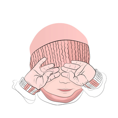 children cry. a little girl in a pink hat. covers his face with his hands. outline technique Illustration