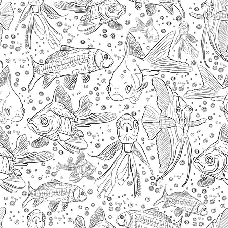 seamless fish pattern. aquarium. marine life. illustration on a white background. sketching style Standard-Bild - 125875438