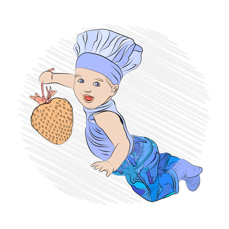 childrens menu. cook with a huge juicy and mouth-watering strawberries in their hands. sketching technique 일러스트