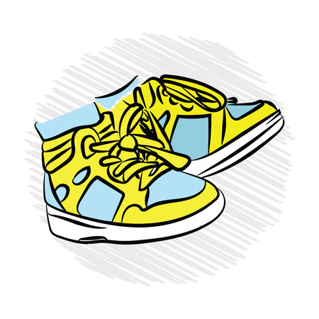 children's sneakers. yellow and blue. Vector illustration on white isolated background. sketching style Standard-Bild - 125875449