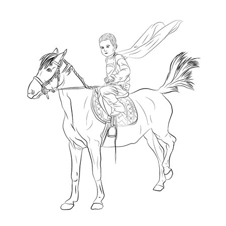 supper hero is a small child. a child riding a horse with a flying cloak. vector illustration on white background isolated