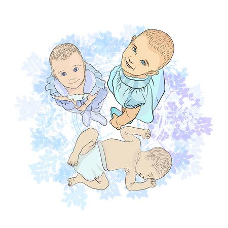 little sleeping baby. illustration sketching vector on white background Standard-Bild - 125875454