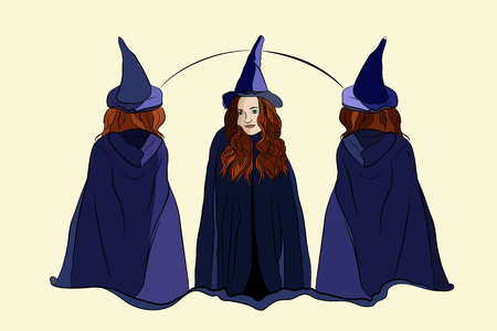 witch halloween three witches in witch caps on a white background