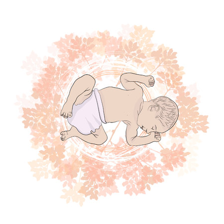 little baby is sleeping on the beautiful branches with leaves. on a white background Standard-Bild - 125875458