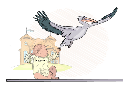 the stork brought the child, and the child caught him. be born back. Vector illustration on an isolated background. sketching style