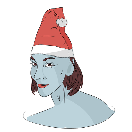 Elf of the evil Santa. scary christmas. vector illustration. sketching style Çizim