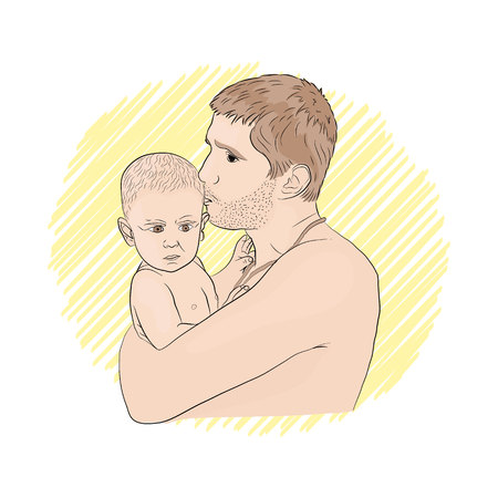 family. dad and child on the beach. sunny day on white isolated background vector illustration Standard-Bild - 125875462