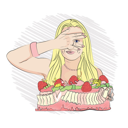 diet. bury your eyes for sweets. diet and strawberry cake. Vector illustration on white isolated background. sketching style