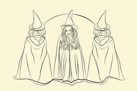 witch halloween sketching style on white isolated background Çizim
