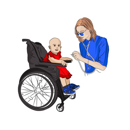 child is disabled girl at the reception at the doctor pediatrician. doctor and stethoscope. medical checkup. Vector illustration on white isolated background. sketching style 일러스트