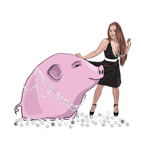 Thats teaching a pig to sing. vector illustration. sketching style Çizim