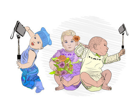 selfie children. day vlantin. cute babies make selfies with a girl with flowers .. children with piles are friends with new technologies. Vector illustration isolated on white background. style sketching Standard-Bild - 125875472