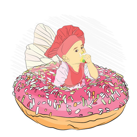 tooth fairy eating donut pink h colored sprinkling. vector illustration of an isolated background in sketch style.
