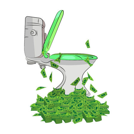 money in the toilet. flush the money in the toilet. Vector illustration for your design. sketching style on a white background