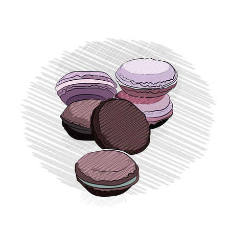 macaroonscookie colored. lie on top of each other. on a white background. outline technique