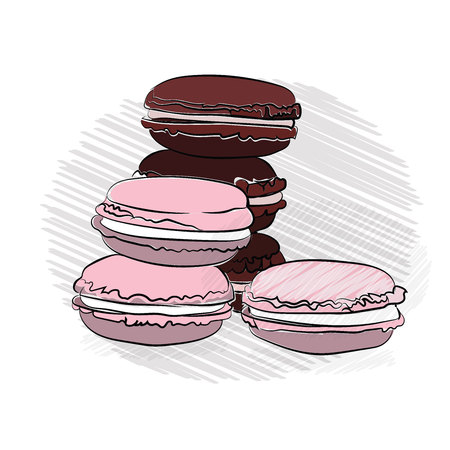 macaroons cookies color appetizing. pink marshmallow and chocolate. on a white background. outline technique