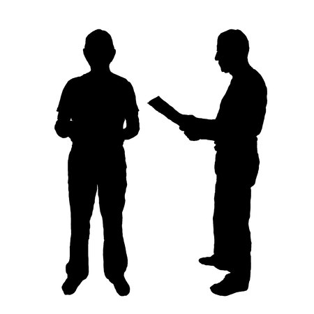 Silhouette of a man with a folder in his hands. black on white Standard-Bild - 125875482