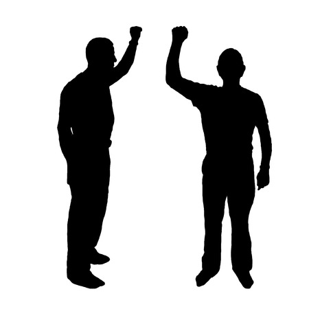 rally concept of discontent. men silhouette. vector black on white isolated background