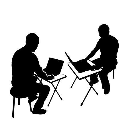 Silhouette men with a computer. laptop on the table. hacker. black on white Standard-Bild - 125875484