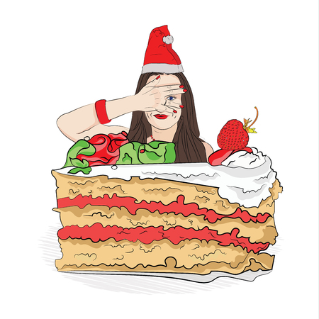 overeating for the new year. Christmas diet. ban sweet Vector illustration for your design on white background. sketching style Çizim