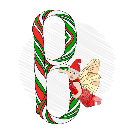 The letter b, a large letter made of striped caramel stick. Santa Claus helper flies over the letter. Vector illustration on white isolated background. sketching style 일러스트