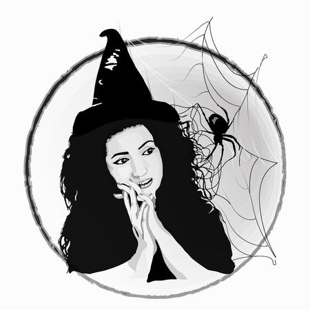 The witch is beautiful. in the style of sketching. on a white background. a witch hat. party in the style of Halloween. spider and web. Standard-Bild - 125875487