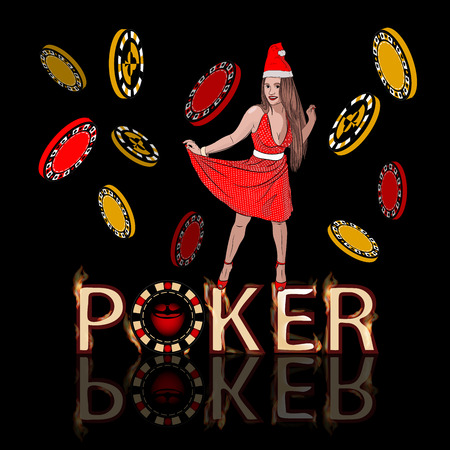 casino new year victory poker concept. Santa Claus is a sexy woman with long legs on poker chips. jackpot rip concept. Vector illustration on a black background with fiery letters. style sketching