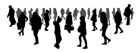 people go to work. crowd concept. silhouette of men and women. on white isolated background vector illustration Illustration
