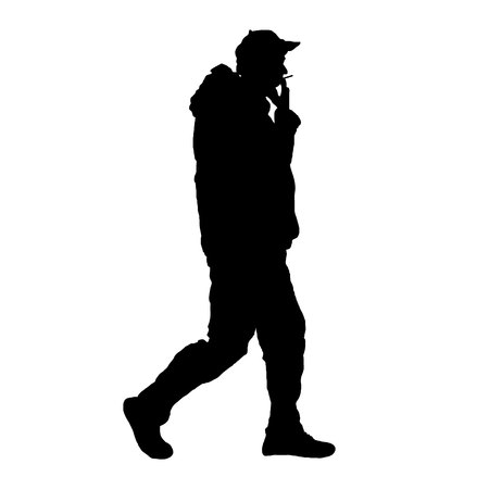 Smoker man silhouette black on white isolated background