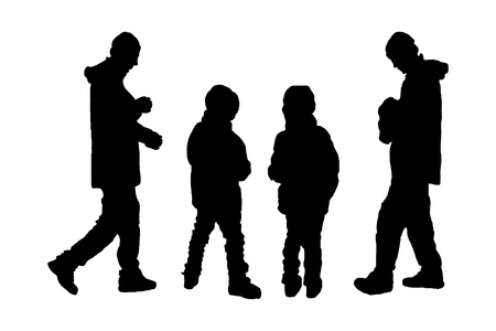 silhouette of children and fathers. children and parents. vector illustration on isolated white background