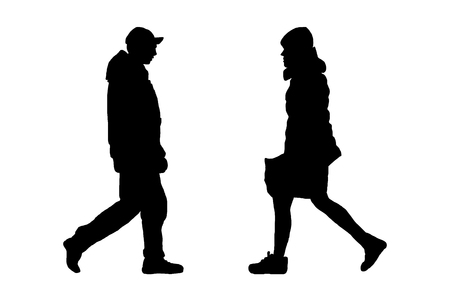 silhouette black man and woman. Sketching style on white isolated background. vector illustration