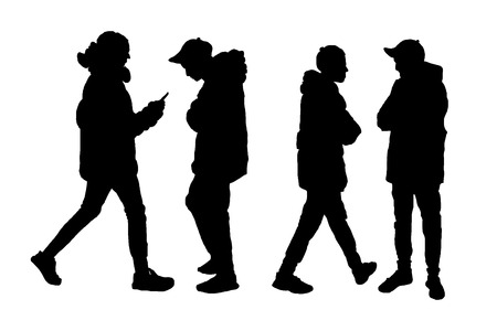silhouette of men with a smartphone in hand. vector illustration on a white background. sketching style