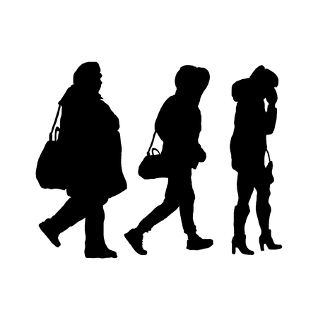 black silhouette. the girl is full medium and thin. illustration sketching vector on white background