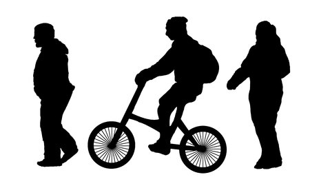 cyclist. A walk on the bike. vector illustration on white isolated background