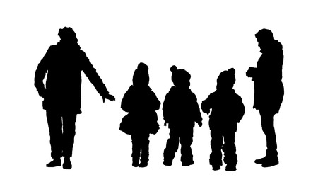 mother with children and a nanny for a walk. walking tour. Siluet children and women. vector black on white isolated background